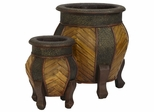 Decorative Rounded Wood Planters (Set of 2) - Nearly Natural - 0519