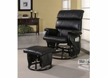 Deluxe Glider Rocker with Ottoman in Black Leatherette - Coaster