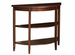 Demi-lune Console Table with 2 Shelves - Shelburne Cherry - Powell Furniture - 998-225