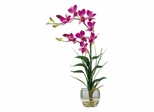 Dendrobium with Glass Vase Silk Flower Arrangement in Purple - Nearly Natural - 1135-PP