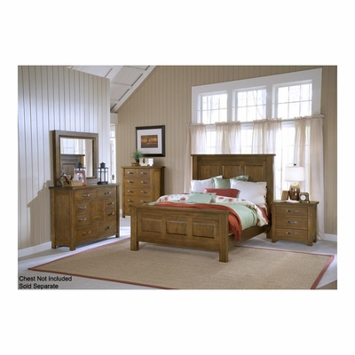 Distressed Chestnut Outback Panel Bed, Nightstand, Chesser, & Mirror - Hillsdale