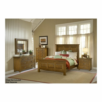 Distressed Chestnut Outback Panel Bed, Nightstand, Dresser, & Mirror - Hillsdale