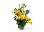 Double Phal / Dendrobium Silk Flower Arrangement in Yellow / Cream - Nearly Natural - 1071-YC