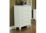 Drawer Chest - Sandy Beach 5 Drawer Chest in White - Coaster - 201305