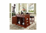 "Drop Leaf Breakfast Bar Top Kitchen Island in Cherry with 24"" Square Seat Stools - CROSLEY-KF300075CH"