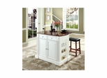 "Drop Leaf Breakfast Bar Top Kitchen Island in White with 24"" Cherry Saddle Stools - CROSLEY-KF300074WH"