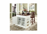 "Drop Leaf Breakfast Bar Top Kitchen Island in White with 24"" Cherry Shield Back Stools - CROSLEY-KF300071WH"