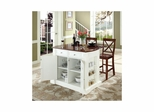 "Drop Leaf Breakfast Bar Top Kitchen Island in White with 24"" Cherry X-Back Stools - CROSLEY-KF300073WH"