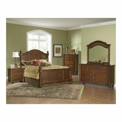 Eastport 5 Pc Toasted Oak Bedroom Set with 5 Drawer Chest - Largo - LARGO-WG-B1055-SET1