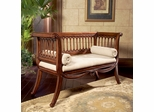 English Settee Bench in Hand Carved Cherry Finish