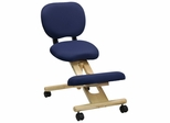 Ergonomic Office Chair with Blue Fabric Seat and Wood Frame - WL-SB-310-GG