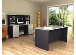 Executive Work Station and Credenza/Hutch Set in Sand Granite and Charcoal - Hampton - Bestar Office Furniture - HAMP-SET-1