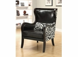 Exposed Wood Zebra Print Accent Chair with Nailhead Trim - 902069