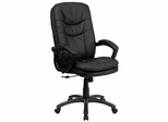 Extra Soft Double Padded Mid-Back Massaging Black Leather Office Chair - BT-9585P-GG