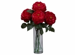Fancy Rose with Cylinder Vase Silk Flower Arrangement - Nearly Natural - 1247-RD