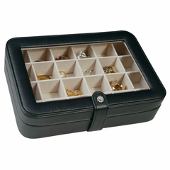 Faux Leather Crystal Jewelry Box with 24 Sections in Black - Elaine - Jewelry Boxes by Mele - 0055062M