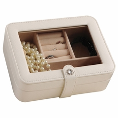 Faux Leather Glass Top Jewelry Box in Ivory - Rio - Jewelry Boxes by Mele - 0055330M