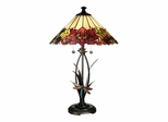 Floral With Dragonfly Tiffany Table Lamp - Dale Tiffany