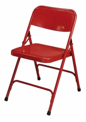 Folding Chair - Premium Steel Folding Chair in Red (Set of 4) - National Public Seating - 240