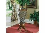 Fossil Stone Top Cast Iron Pedestal Table