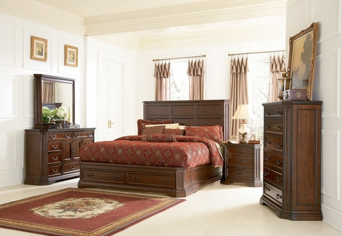 Foxhill Eastern King Size Bedroom Furniture Set in Deep Cherry Brown - Coaster - 201581KE-BSET