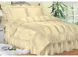 Full Bed Sheet Set - Charmeuse II Satin 230TC Woven Polyester in Bone - 100FCB2BONE