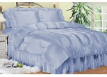 Full Bed Sheet Set - Charmeuse II Satin 230TC Woven Polyester in French Blue - 100FCB2FBLU