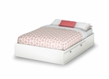"Full Mates Bed (54"") in Pure White - Sparkling - South Shore Furniture - 3260211"