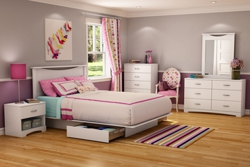 Full/Queen Size Bedroom Furniture Set 74 in Pure White - Step One - South Shore Furniture - 3160-BSET-74