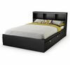Full Size Mates Bed with Bookcase Headboard in Solid Black - Spark - South Shore Furniture - 3270211-093