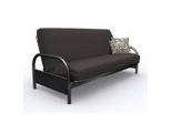 Futon Frame - Full Size Round Arm Futon in Black Metal - 35-1914-050