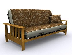 Futon Frame - Mead Full Size Metal Wood Futon in Medium Oak - 35-0914-008