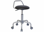 Garage Stool - Metal Stool with Black Padded Vinyl Seat with Back - WL-ST-08-GG