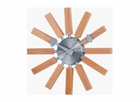 George Nelson Natural Wood Spokes Wall Clock in Natural with Wood Grain / Silver Metal - 1134