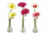 Gerber Daisy with Bud Vase (Set of 3) - Nearly Natural - 1248-A2