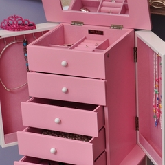 Girl's Pink and White Jewelry Armoire - Louisa - Jewelry Boxes by Mele - 00894F10