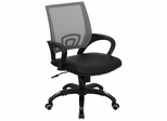 Gray Mesh Office Chair with Black Leather Seat - CP-B176A01-GRAY-GG