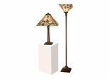 Green Leaves Table And Torchiere Lamp Set - Dale Tiffany