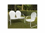 Griffith 2 Piece Metal Outdoor Conversation Set - Loveseat and Chair in White - CROSLEY-KO10005WH