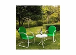 Griffith 3 Piece Metal Outdoor Conversation Set - 2 Chairs in Grasshopper Green, White Side Table - CROSLEY-KO10004GR