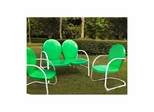 Griffith 3 Piece Metal Outdoor Conversation Set - Loveseat and 2 Chairs in Grasshopper Green - CROSLEY-KO10002GR