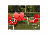 Griffith 3 Piece Metal Outdoor Conversation Set - Loveseat and 2 Chairs in Red - CROSLEY-KO10002RE