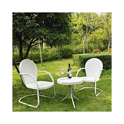 Griffith 3 Piece Metal Outdoor Conversation Set - Two Chairs in White with Side Table - CROSLEY-KO10004WH