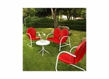 Griffith 4 Piece Metal Outdoor Conversation Set - Loveseat and 2 Chairs in Red with White Side Table - CROSLEY-KO10001RE