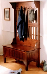 Hall Tree in Solid Wood with Full Storage Entry Bench in Cherry Finish - 5648-49