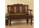 Hand Carved Storage Settee in Natural Cherry - Holly and Martin