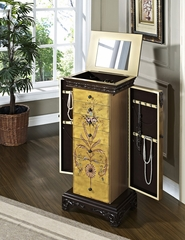 "Hand Painted Jewelry Armoire - Masterpiece ""Antique Parchment"" - Powell Furniture - 582-314"