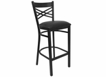 "HERCULES Black """"X"""" Back Metal Bar Stool with Black Vinyl Seat - XU-6F8BXBK-BAR-BLKV-GG"