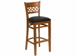HERCULES Cherry Finished Lattice Back Wood Bar Stool - Black Vinyl Seat - XU-DGW0015BARLAT-CHY-BLKV-GG