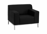 HERCULES Definity Series Contemporary Black Leather Chair with Stainless Steel Frame - ZB-DEFINITY-8009-CHAIR-BK-GG
